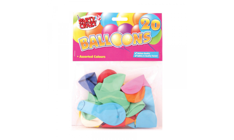 Party Crazy Balloons, Assorted Shapes, Pack of 20, Helium Quality