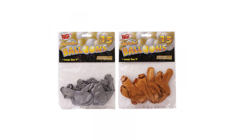 Party Crazy Metallic Gold/Silver Balloons, 15pk, Hangcarded