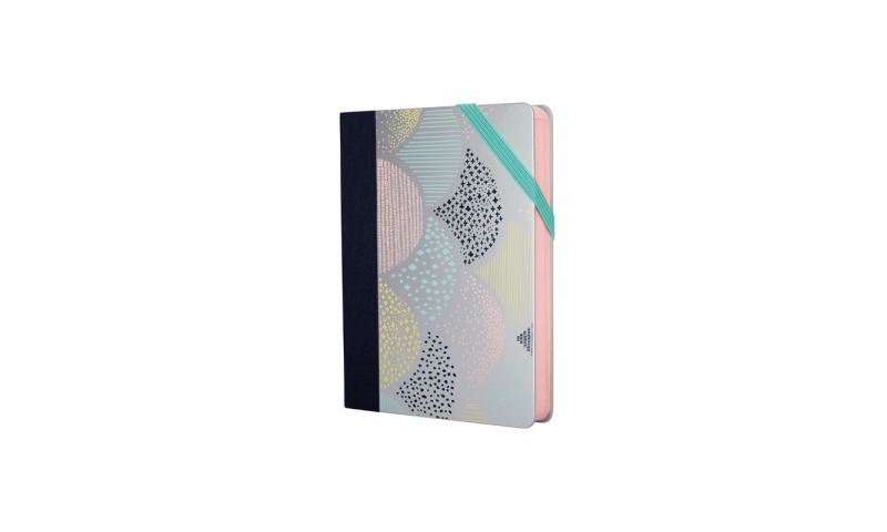 Milan Pocket Notebook Silver Pattern, Dotted White Paper