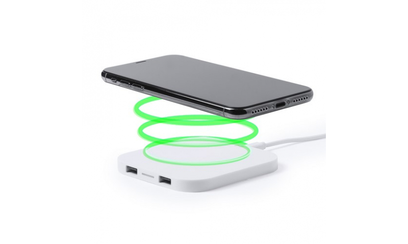 Ëynsteyn USB Powered Wireless Charger, Rectangular, with Power cable & 2 USB outlet hub