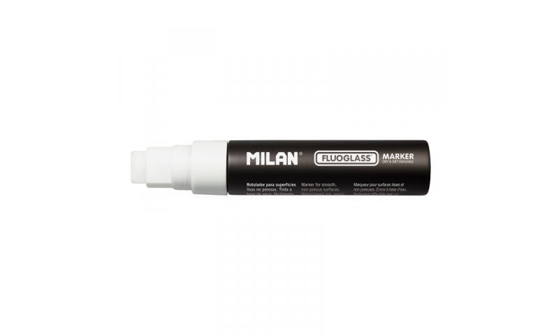Milan Fluoglass Markers, Jumbo White 12mm Chisel Tip, Display Box. (New Lower Price for 2021)