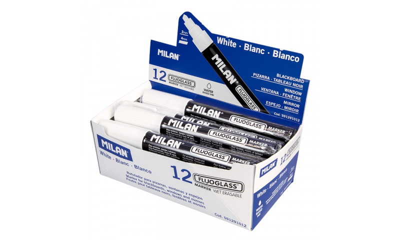 Milan FluoGlass Markers 2-4mm Chisel Tip, 12pk, 7 Colours to choose (New Lower Price for 2021)