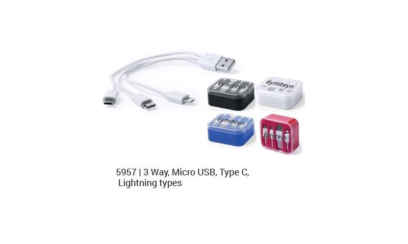 Ëynsteyn USB Powered Charging Cable, 3 Way, Micro USB, Type C & Lightning