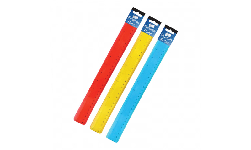 Just Stationery 30cm Flexi Ruler, Hangpacked