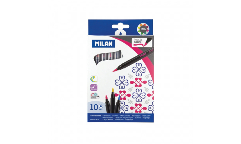 Milan Brush Tip Calligraphy Fibrepens, box of 10 bright colours