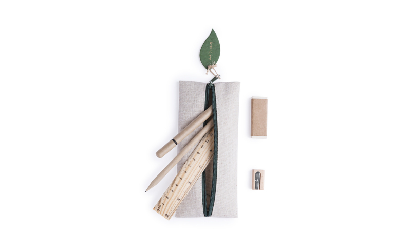 Eco Filled Zipper Pencil Case With 5pce Stationery Set