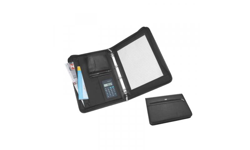 Santini Imitation leather Conference Folder Portfolio, A4 lined Pad, 30 sheets, Ring Binder, dual calculator, 8- digit display.