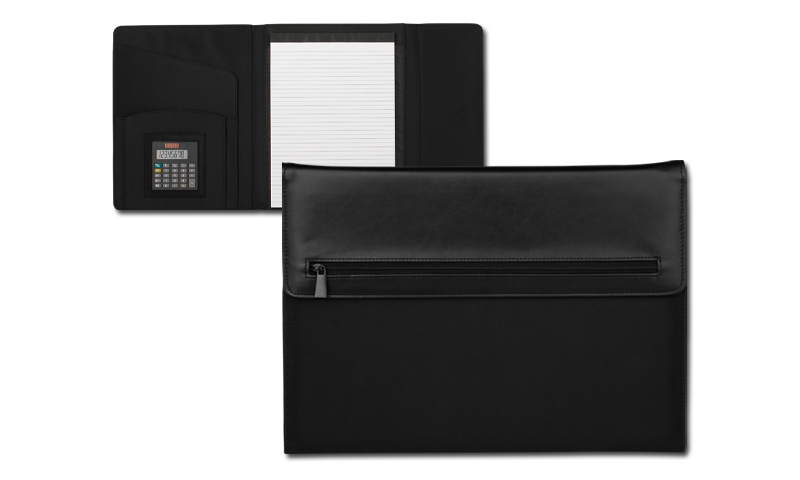 Santini Conference Folder Textile and PU with A4 Lined 20 Sheet Pad, 8-Digit, Dual Calculator and Magnetic Buckle.
