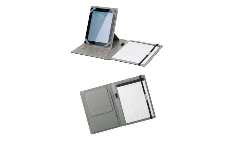 Santini Imitation Leather Portfolio with A4 Lined Writing Pad, 20 Sheets and Stand for Tablet.