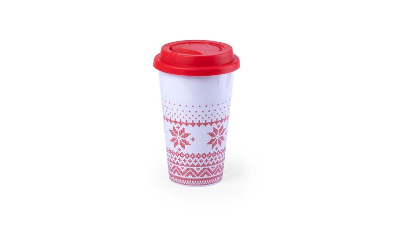 Xmas Snoflake White Ceramic Travel Mug with Festive Design