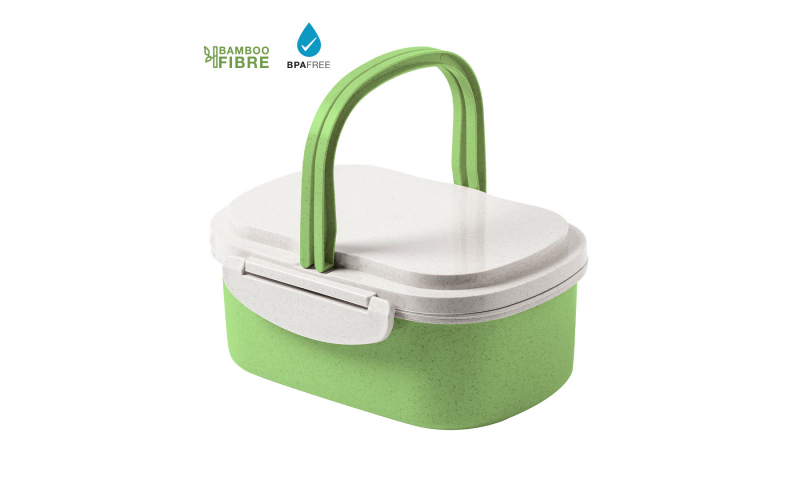 Bamboo Fibre Natural Carry Lunch Box, 19 x 8 x 13cm
