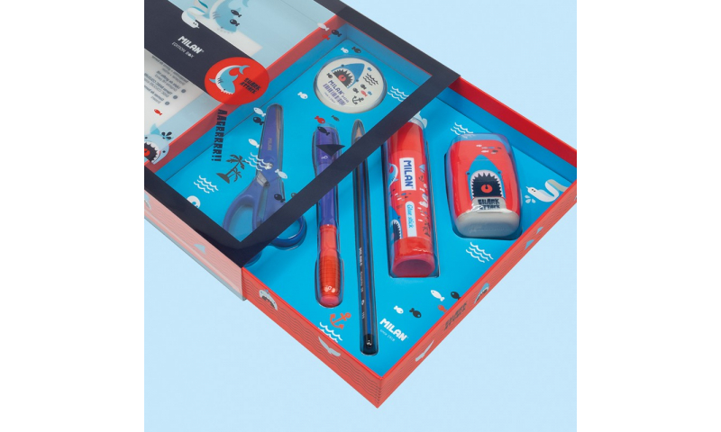 MILAN Gift box Set of Stationery, Shark Attack, 6 Piece. (New Lower Price for 2021)
