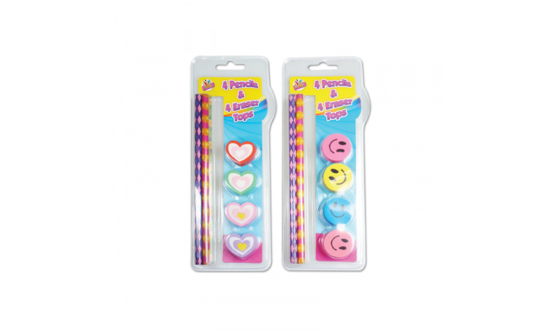 Novelty Smile & Hearts 4pk Pencils & Eraser Tops, 2 Asstd