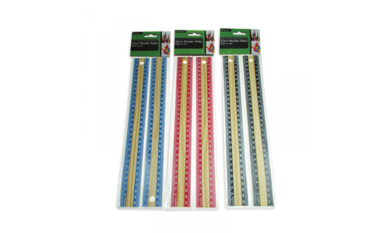 Just Stationery Wooden 2pk Ruler, 30cm, 3 Asstd