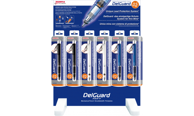 """Zebra Delguard Automatic Pencil """"Leadsafe"""" 0.5mm , Display Stand"""
