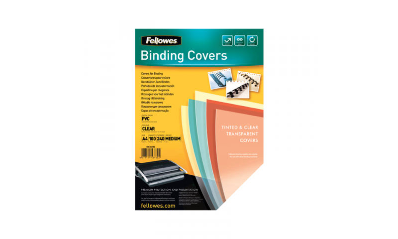 Fellowes A4 Clear PVC Binding Covers, 200mic - Pack 100