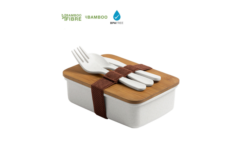 Eco Bamboo Fibre Lunch Box with 3pce Eco Cutlery Set