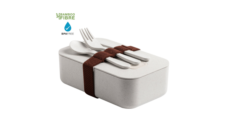 Eco Bamboo Lunch Box & Cutlery Set, 19 x 9 x 12cm