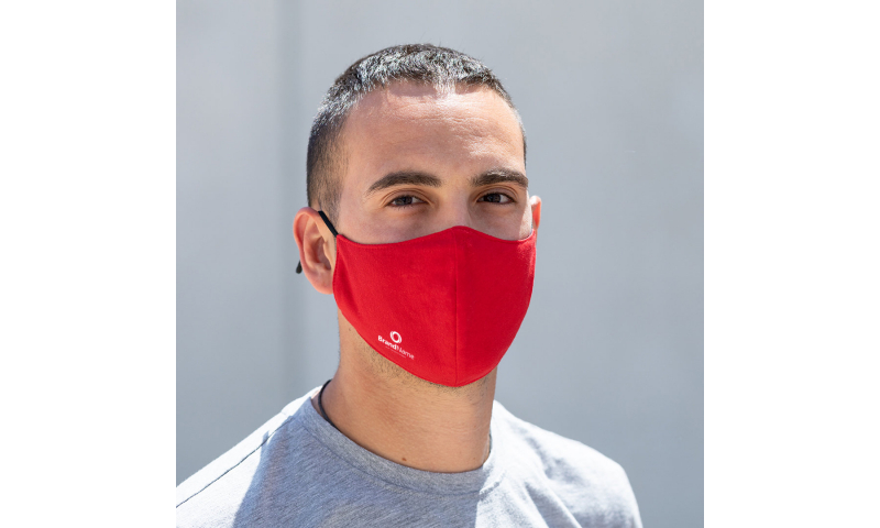 Adult Polyester Double Layer Re-Useable Mask, Pink /  Red / Yellow & Green