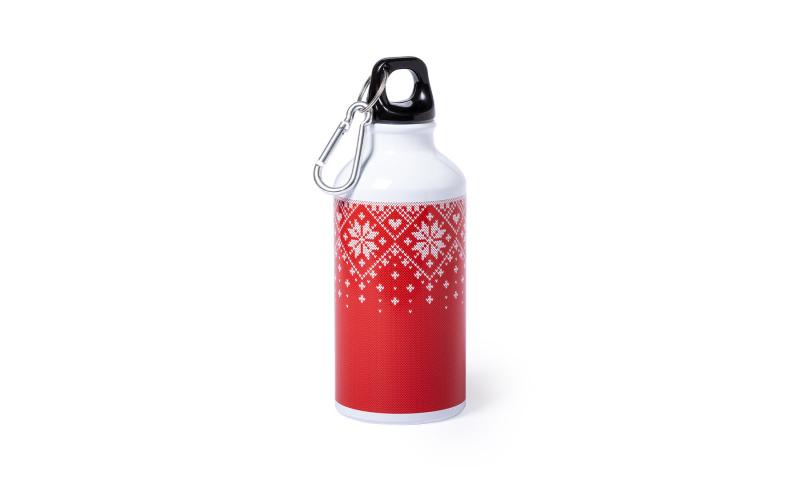 Xmas Snoflake White Travel Flask & Karabiner with Festive Design