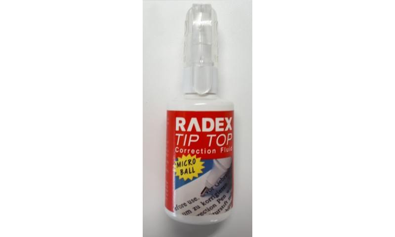 Radex Tip Top Correction Fluid 20ml - Precise Micro Roller Application:  (Special 50% off Trade Price)