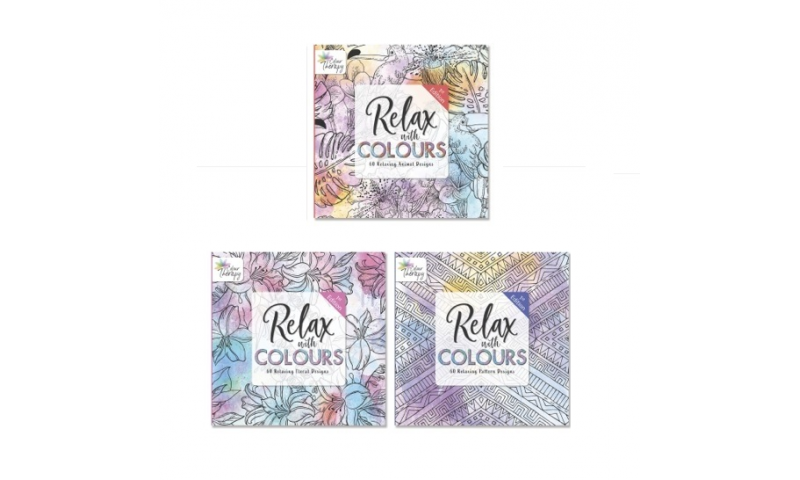 Colour Therapy Adult Colouring Books. 3 Asstd Series 1 (New Designs for 2020)