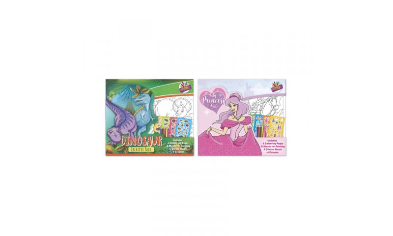 Childrens Creative Colouring Kit with Pencils, Dino & Princess