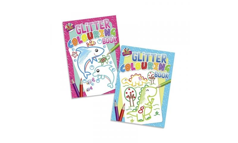 Glitter Colouring Book for Kids, A4, 2 Asstd