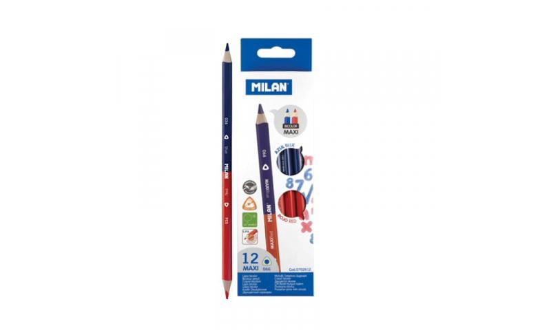 Milan Maxi Checker Pencils, Bi-colour Blue/Red, box of 12