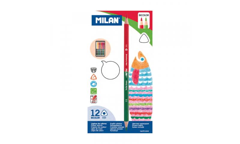 Milan Bi-Colour Colouring Pencils, 24 colours in 12 Ergonomic Triangular Pencils