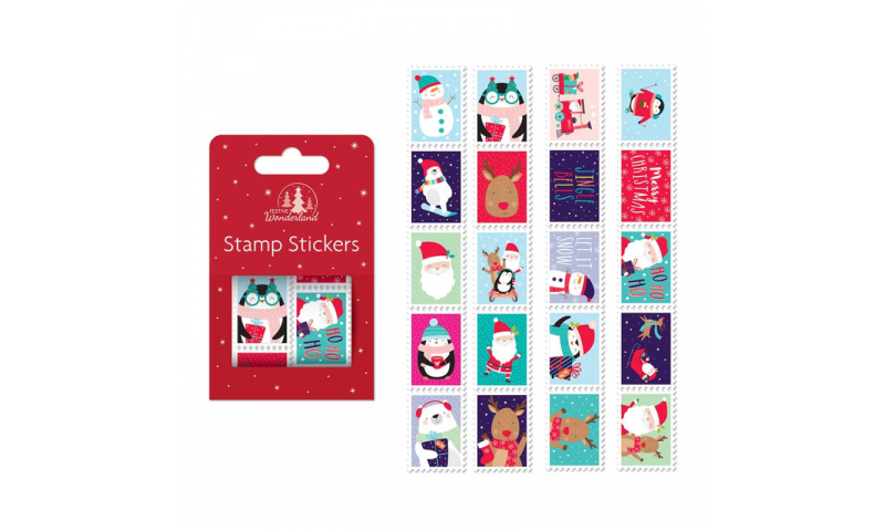 Xmas Postage Stamp Style Stickers, Approx 100 on 2 Rolls