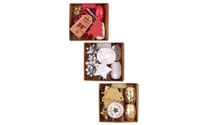 Xmas Wrapping Accessory Pack, 14pcs in Gift Box, 3 Asstd