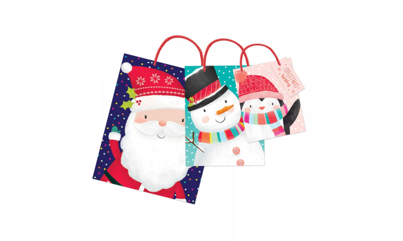 Xmas Cute Design Gift Bags, Pack of 3 Sizes, S,M & L