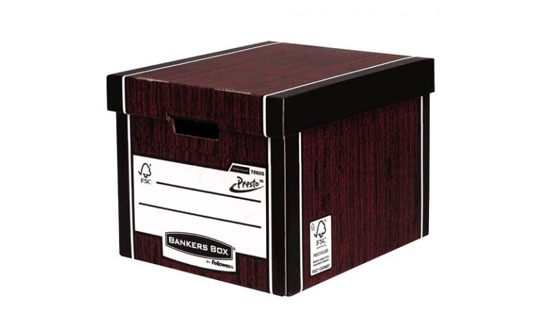 Fellowes R-Kive 100% Recycled Storage Box, Classic Presto, Woodgrain (NEW convenient 5 Pack for 2021)