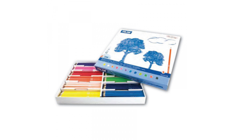 Milan Classpack of 288 Ergonomic Coloured Full Length Pencils, 12 Colours