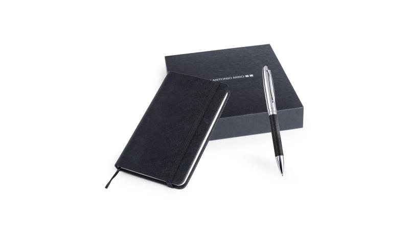 Antonio Miró A6 Notebook & Deluxe Pen Set Black
