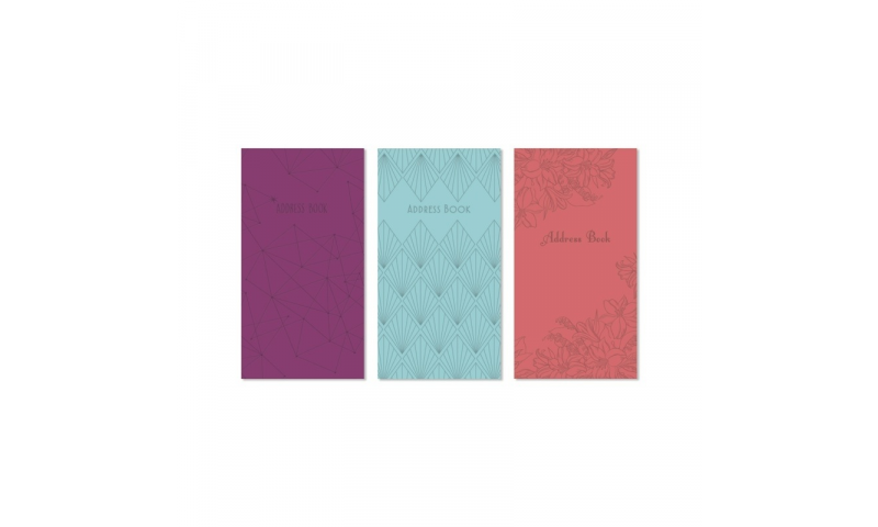 Just to Say Slim Soft cover Enbossed  A-Z Address  Book, 3 asstd