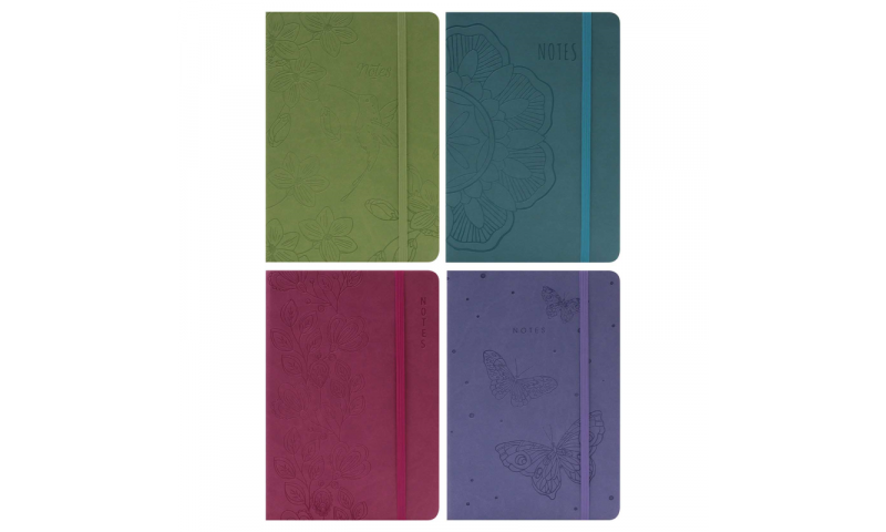 Just Stationery A5 Soft Touch Notebook with elastic binding & Embossed Designs