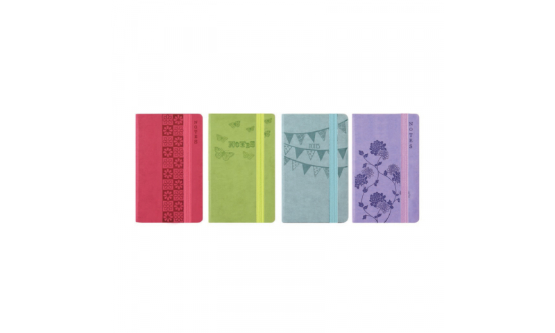 Just Stationery A6 Slim Soft Touch Notebook with elastic binding, Pastel Embossed (Counter Display)