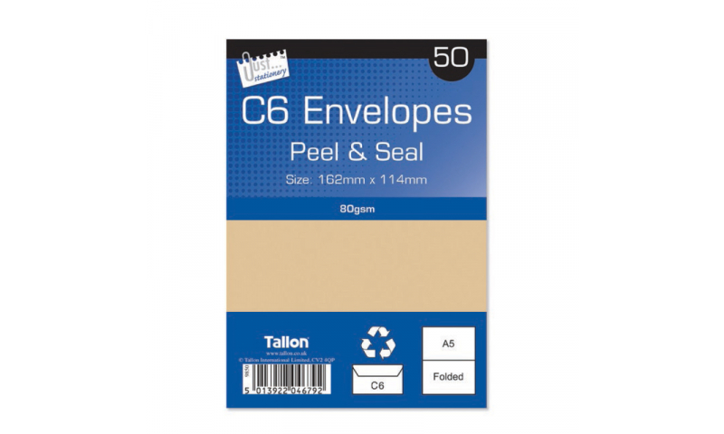 Just Stationery C6 Manilla Peel & Seal envelopes - pack of 50