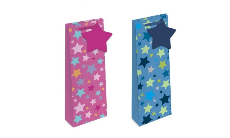 Foil Stars Gift Bags Bottle style, 2 asstd