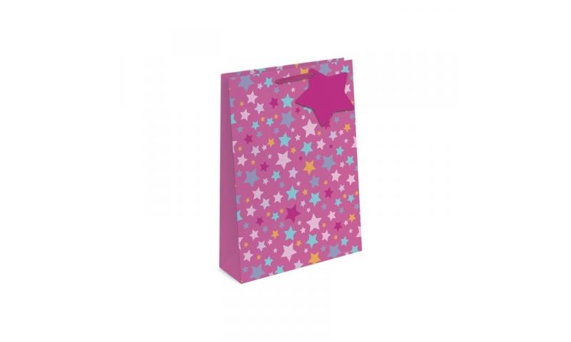 Foil Stars Gift Bags Large, 260 x 320 x 120mm, 2 asstd