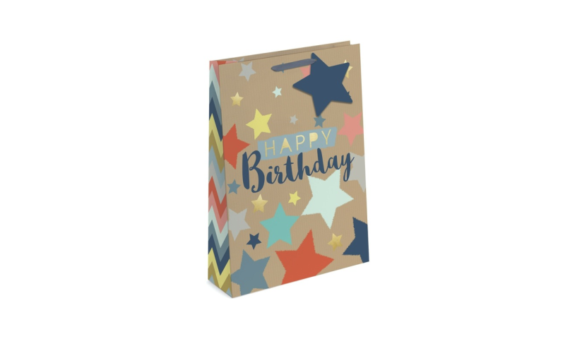 Happy Birthday Gift Bags Ex-Large, 440 x 320 x 110mm, Shaped Tag