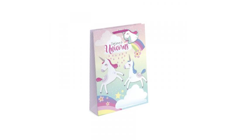 Unicorn Iridescent Glitter Gift Bags Large, 260 x 320 x 120, Shaped Tag