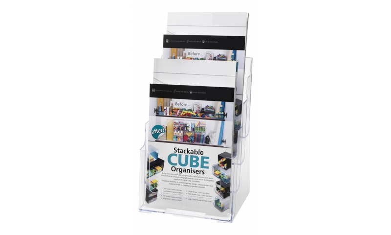 Deflecto 4 Tier, 4 Pocket A4 Clear Acrylic Literature Holder