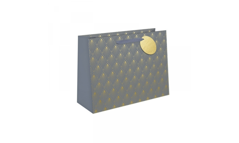 Just to say Grey Foil Geo Gift Bag, Rope handles and Tag, Large - 260 x 320x 120mm.