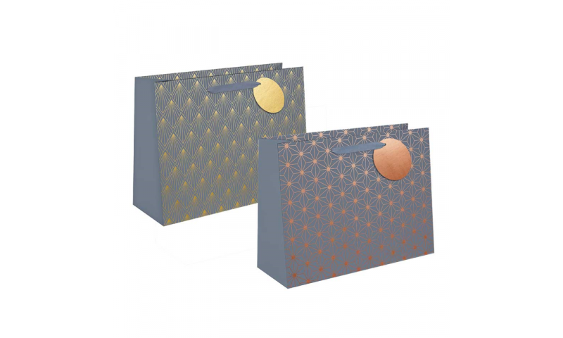 Just to say Grey Foil Geo Gift Bag, Rope handles and Tag, Ex-Large - 440 x 320x 110mm.