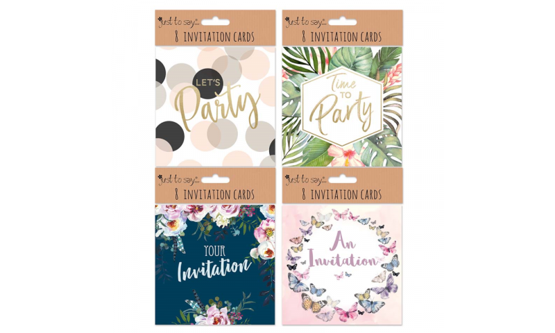 Just to Say Party Invitation Cards & Envelopes, Assorted, Pack of 8 (7795)