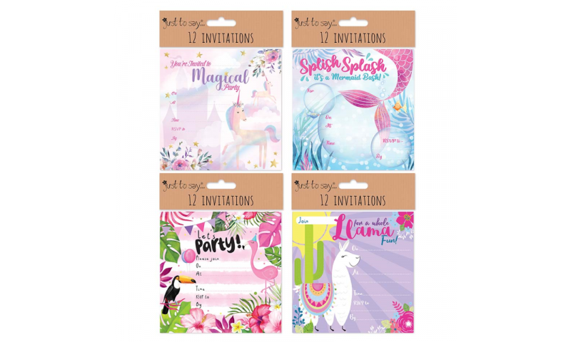 Just to Say Party Invitations, Girls,  Pack of 12