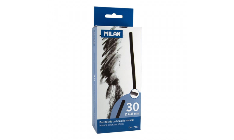 Milan Charcoal sticks 6-8mm Pack of 30 Cylindrical Sticks